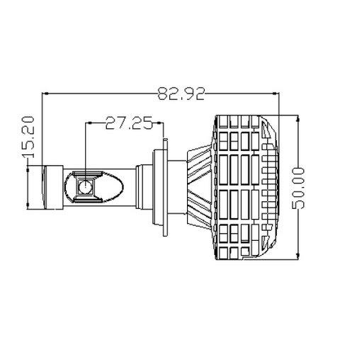 Набір світлодіодного головного світла UP-6HL (H7, 3000 лм, сумісний з CAN-шиною) Прев'ю 3