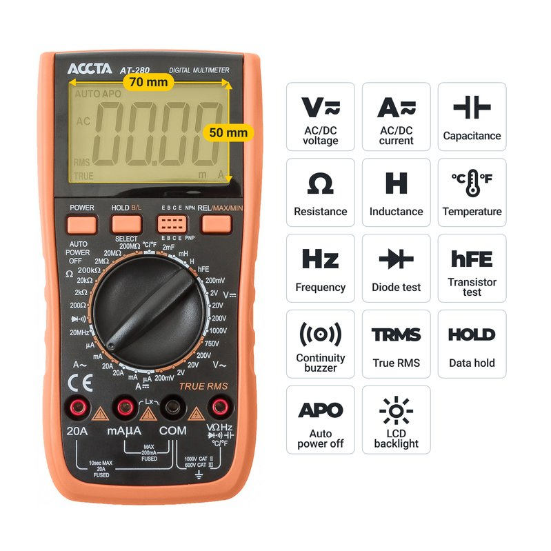 Цифровий мультиметр Accta AT-280 Зображення 7